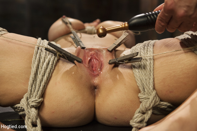 all natural babe in heavy bondage hogtied pics